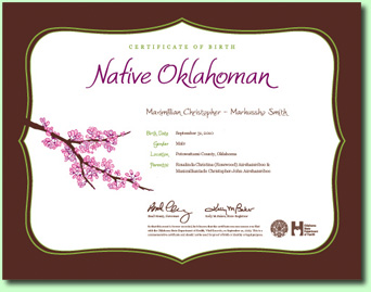 Oklahoma Heirloom birth certificate image